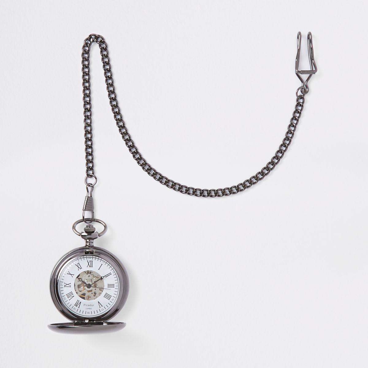 Grey gunmetal pocket watch