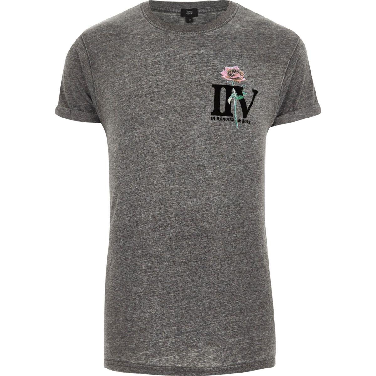 T 'IIV' Grey rose print shirt slim fit PAq8X0wq