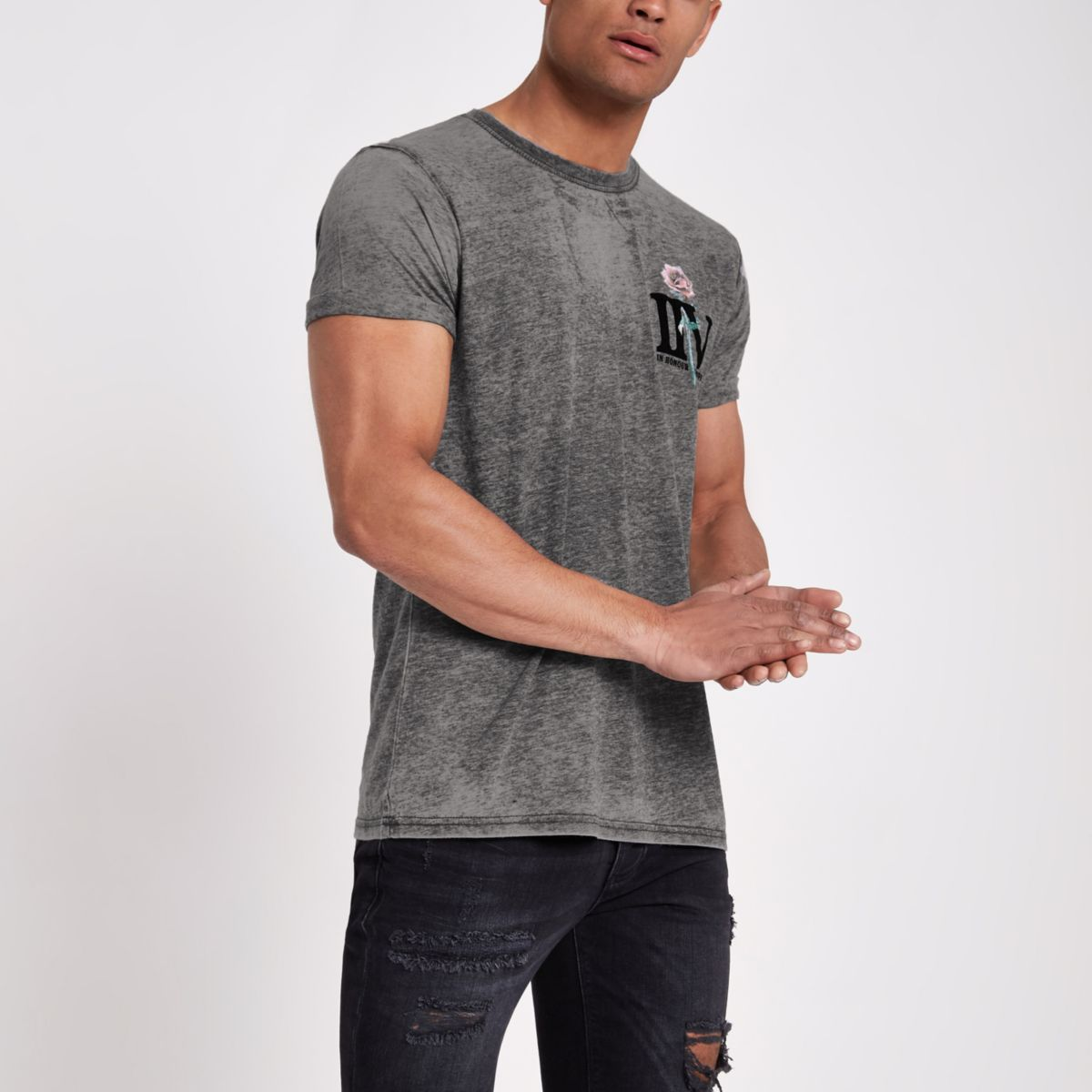 Grey 'IIV' rose print slim fit T-shirt