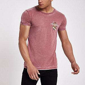 Red 'valencia' tiger print slim fit T-shirt