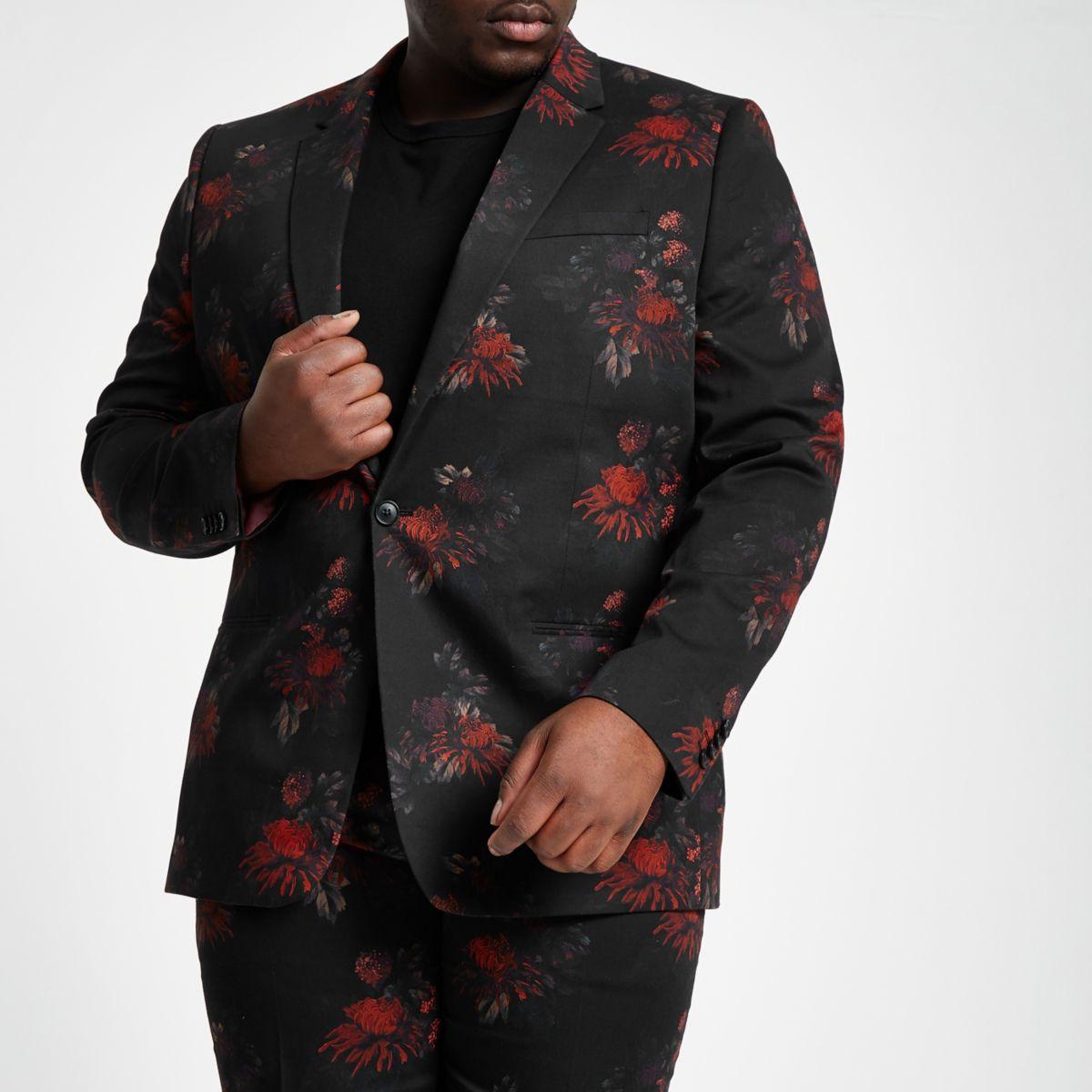 Big and Tall – Veste de costume à fleurs noire