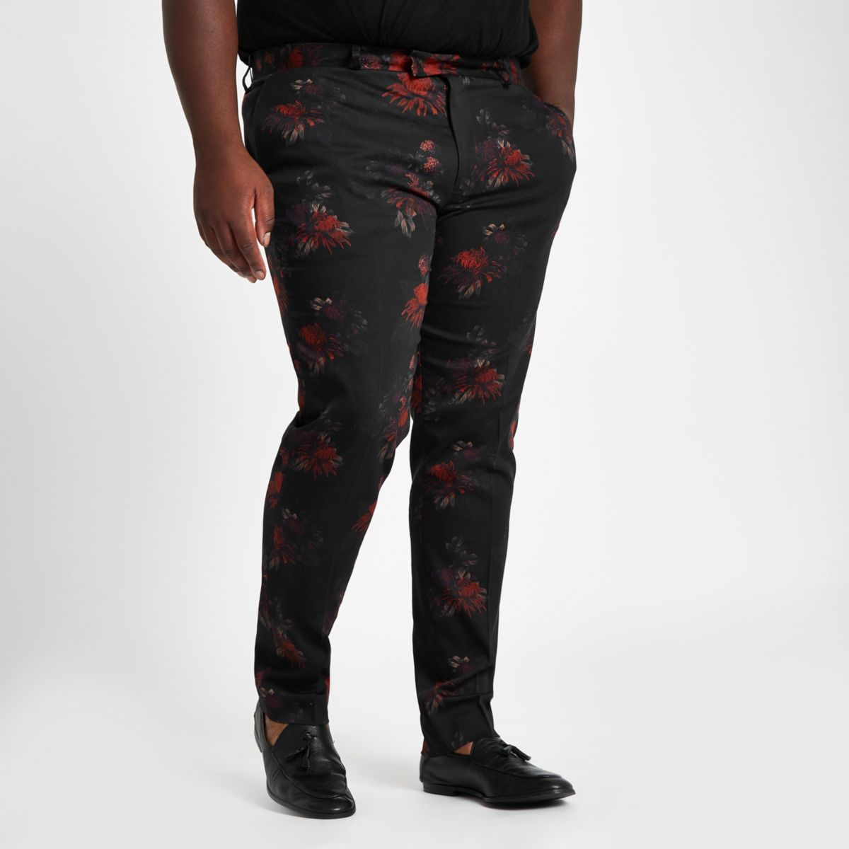 Big and Tall black floral suit trousers