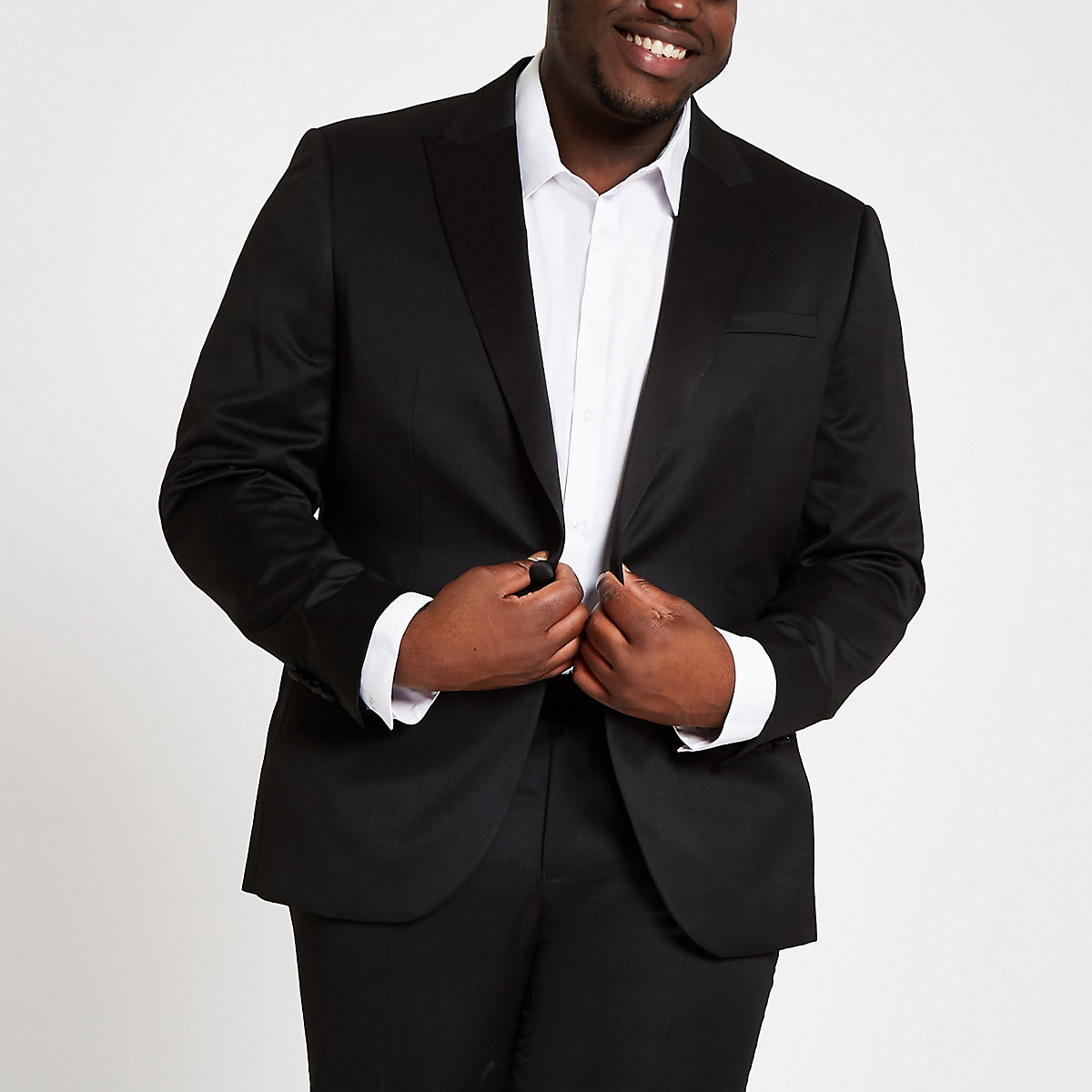 Big and Tall black slim fit suit jacket