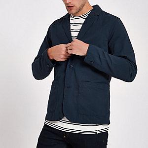 Minimum - Marineblauwe blazer met textuur