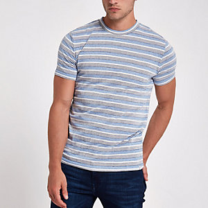 Minimum light blue stripe print T-shirt