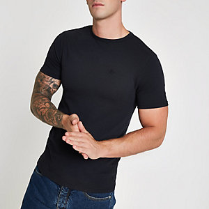Navy pique crew neck T-shirt