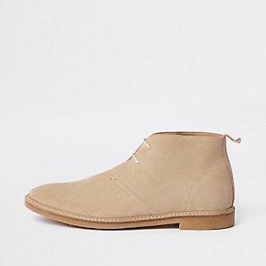 Kiezelkleurige suède desert boots met oogjes