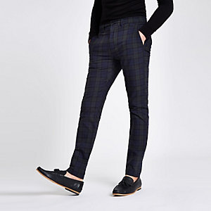 Green check skinny chino trousers