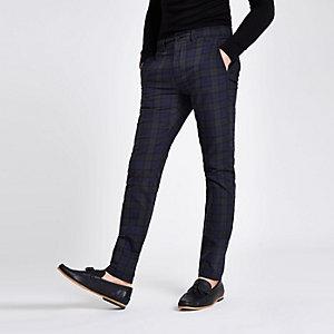 Green check skinny chino trousers