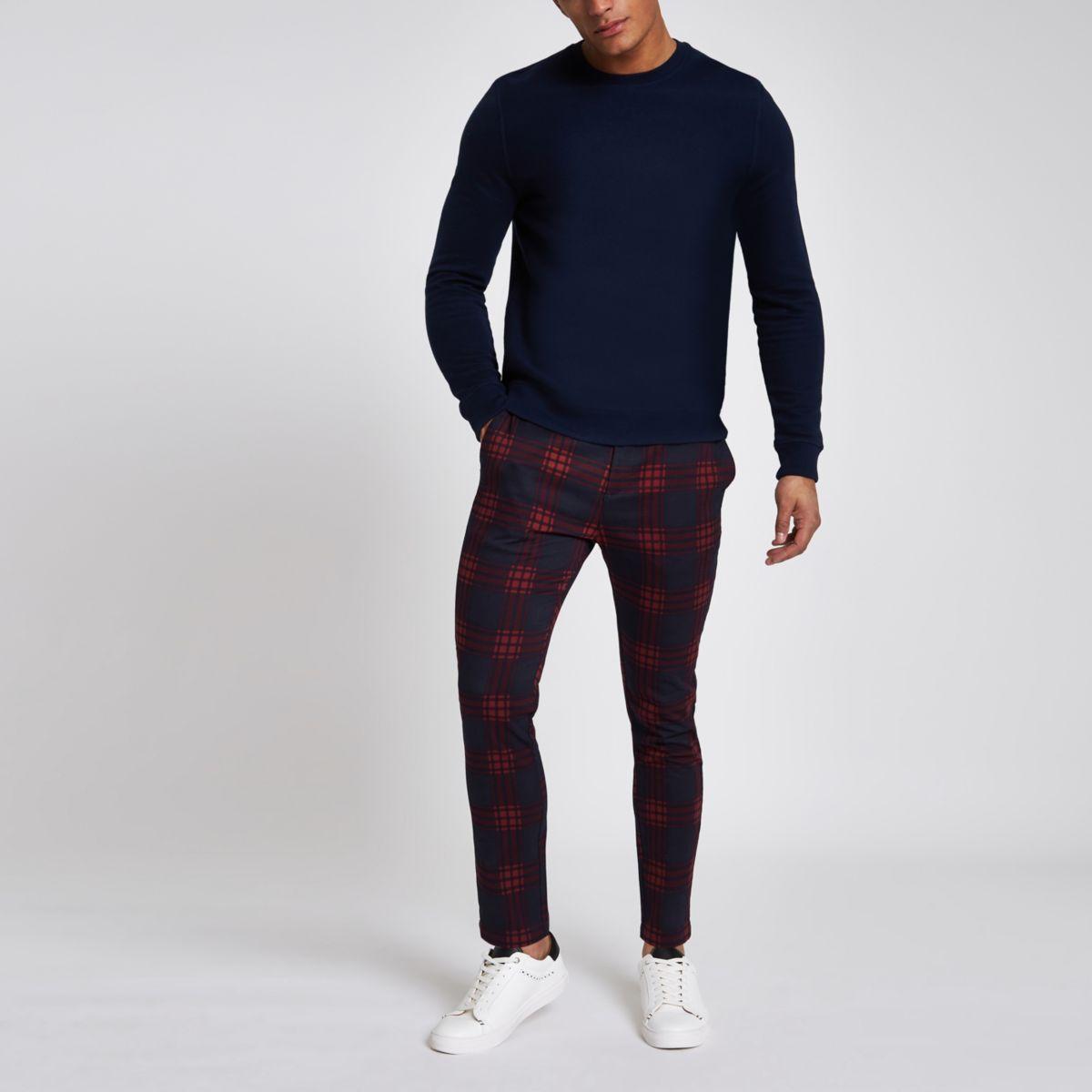 Red check skinny chino pants