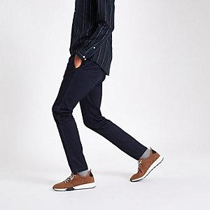 Pantalon skinny bleu marine à bandes latérales