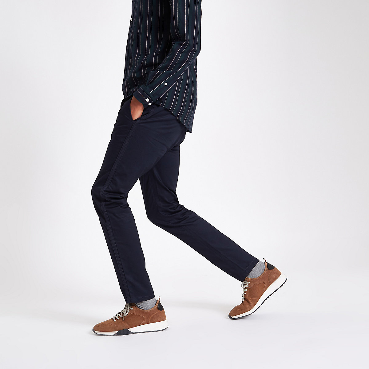 Navy taped side skinny fit trousers