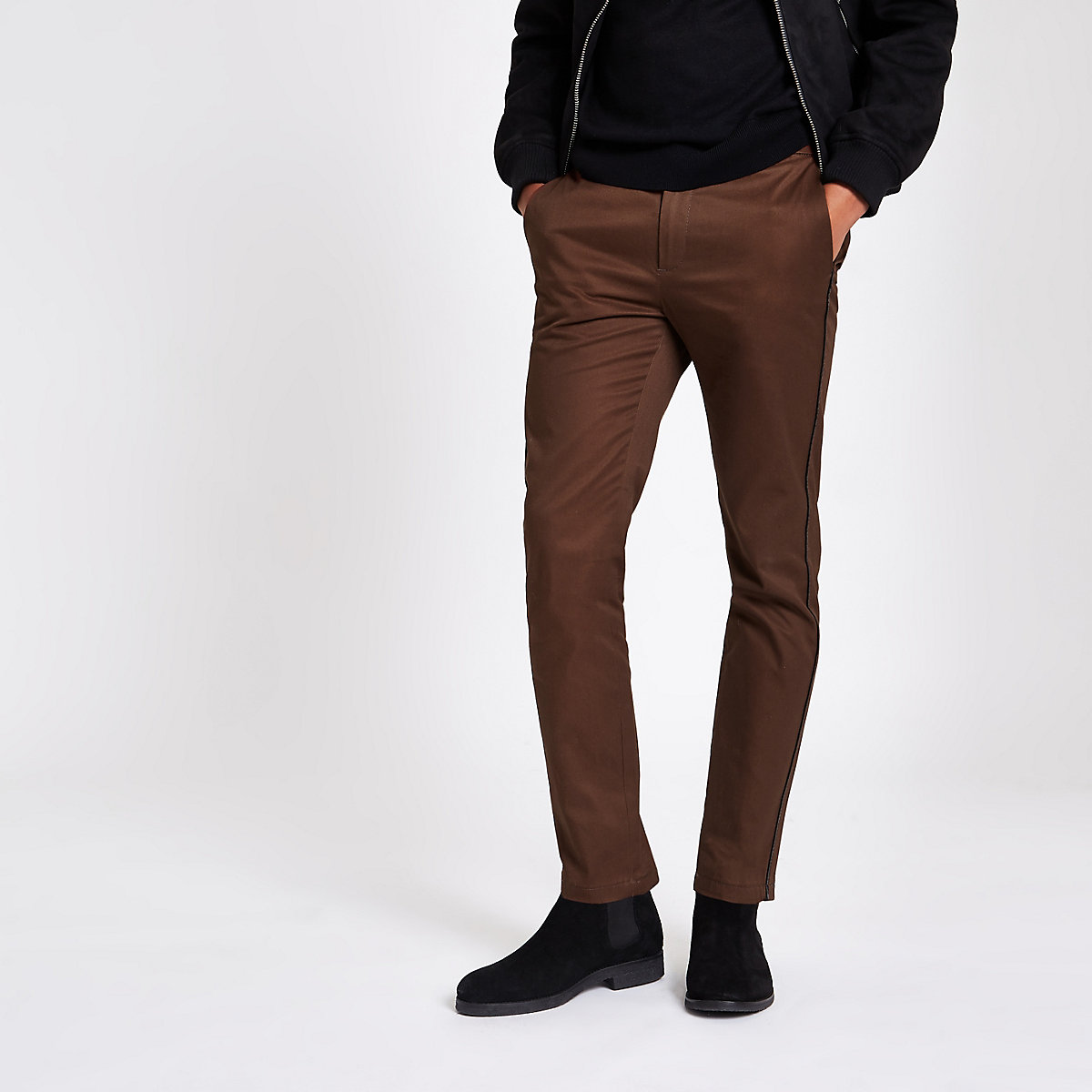 Brown taped side skinny fit pants