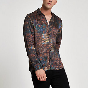 Donkerrood slim-fit overhemd met tegelprint
