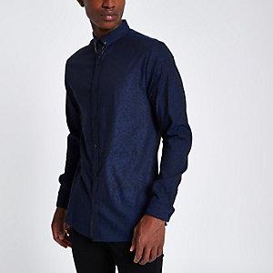 Marineblauw jacquard slim-fit overhemd met print