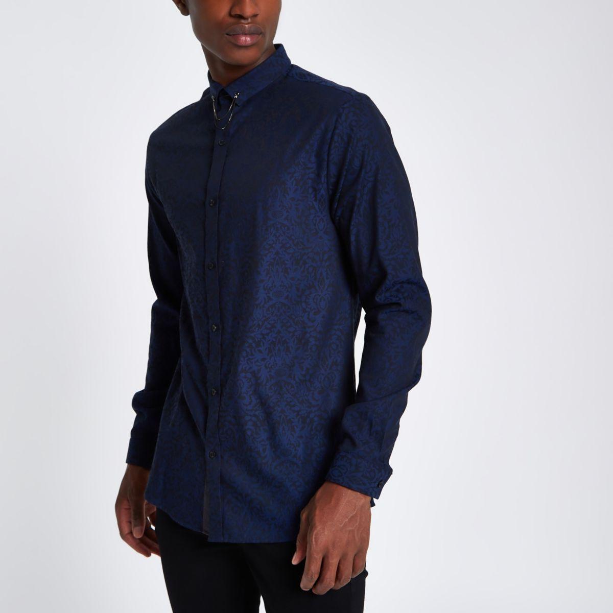 Navy jacquard printed slim fit shirt
