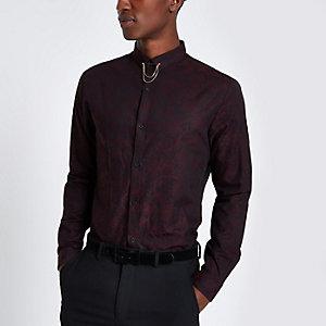 Donkerrood jacquard slim-fit overhemd met print