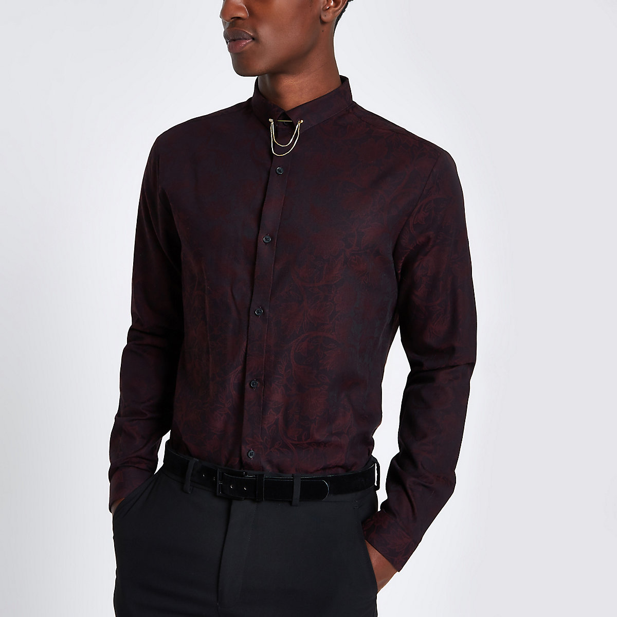 Dark red jacquard printed slim fit shirt