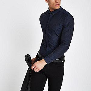 Chemise manches longues à imprimé jacquard bleu marine