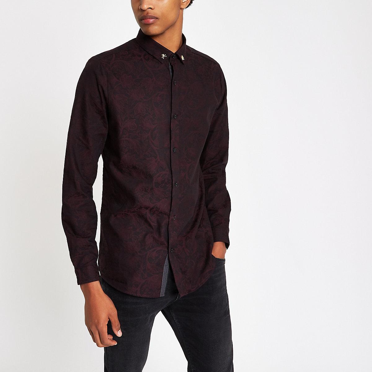 Dark red jacquard print skull slim fit shirt