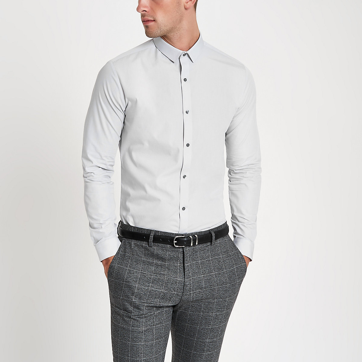 Grey long sleeve slim fit shirt