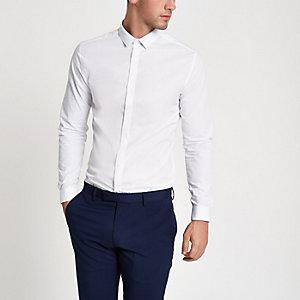 Chemise slim blanche à manches longues