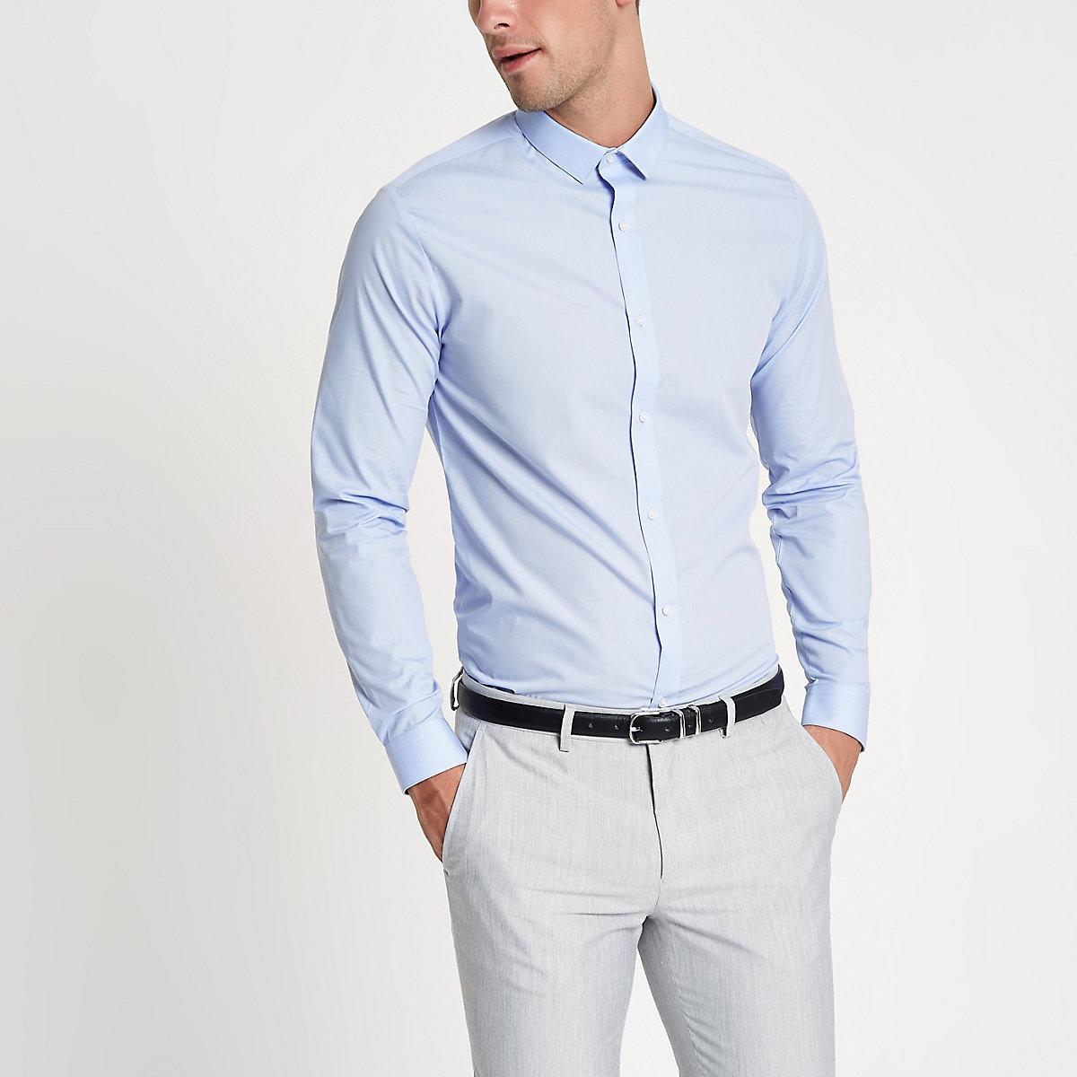 Light blue long sleeve slim fit shirt