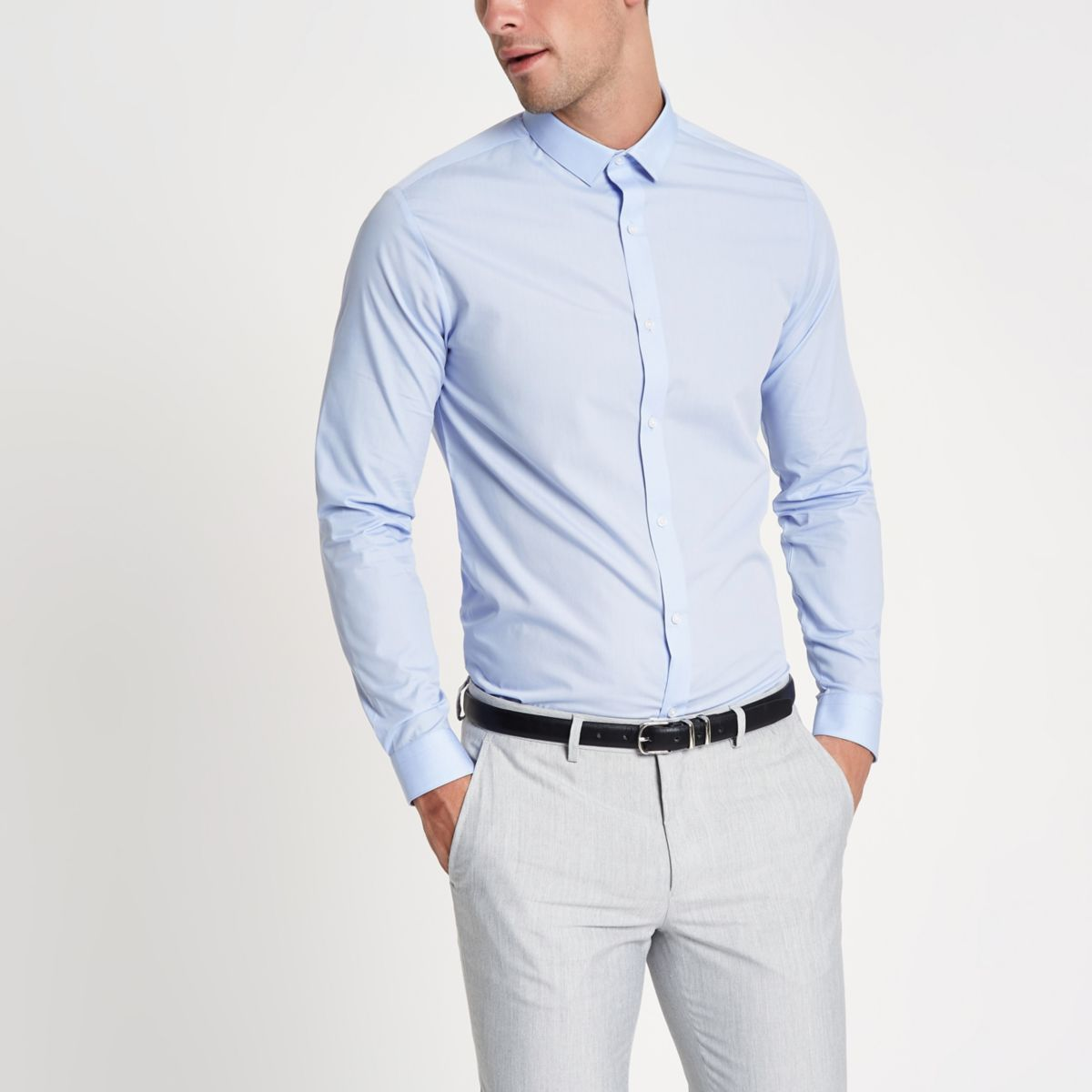 Light blue long sleeve slim fit shirt