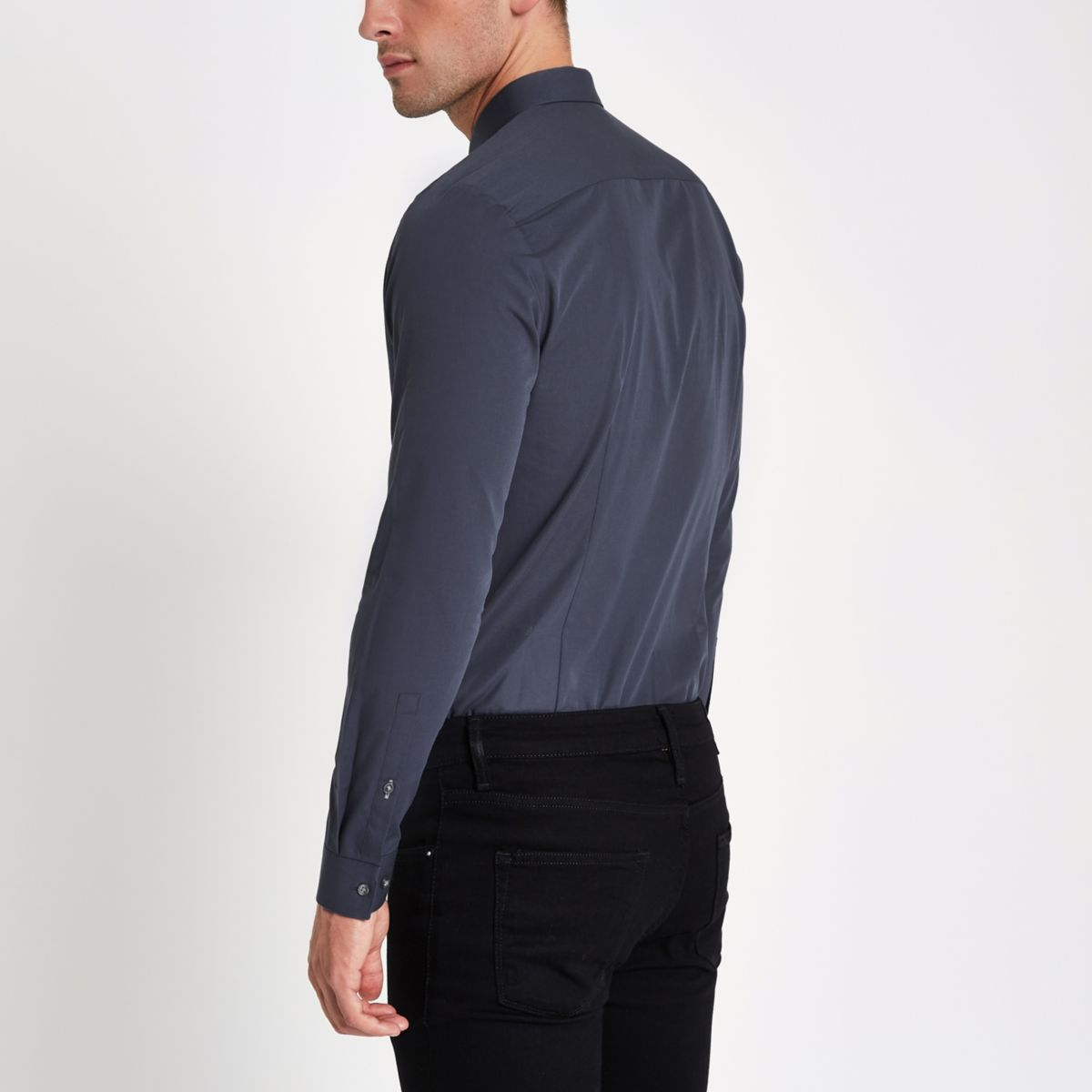 long slim sleeve fit Navy shirt awP7P