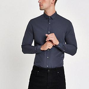 Marineblaues, langärmliges Slim Fit Hemd