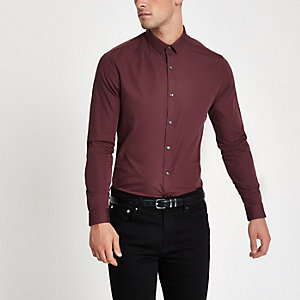 Dark red long sleeve slim fit shirt