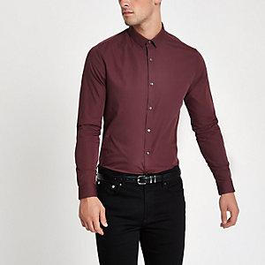 Dunkelrotes, langärmliges Slim Fit Hemd