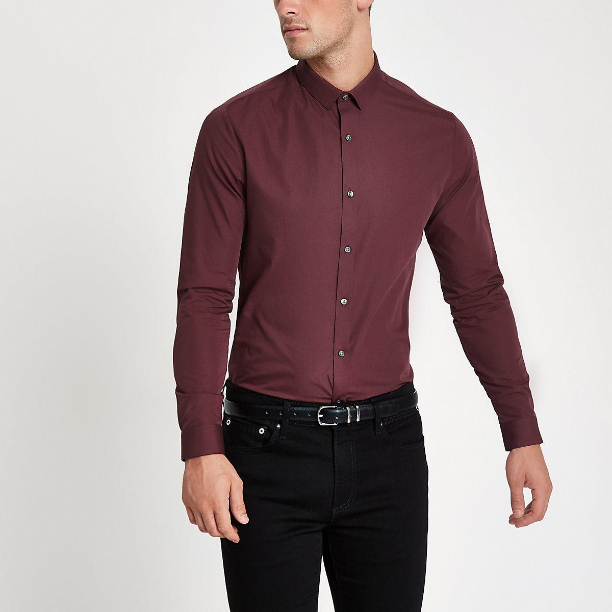Dark red long sleeve slim fit shirt