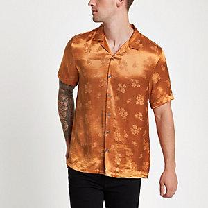 Oranje jacquard overhemd met revers en bloemenprint