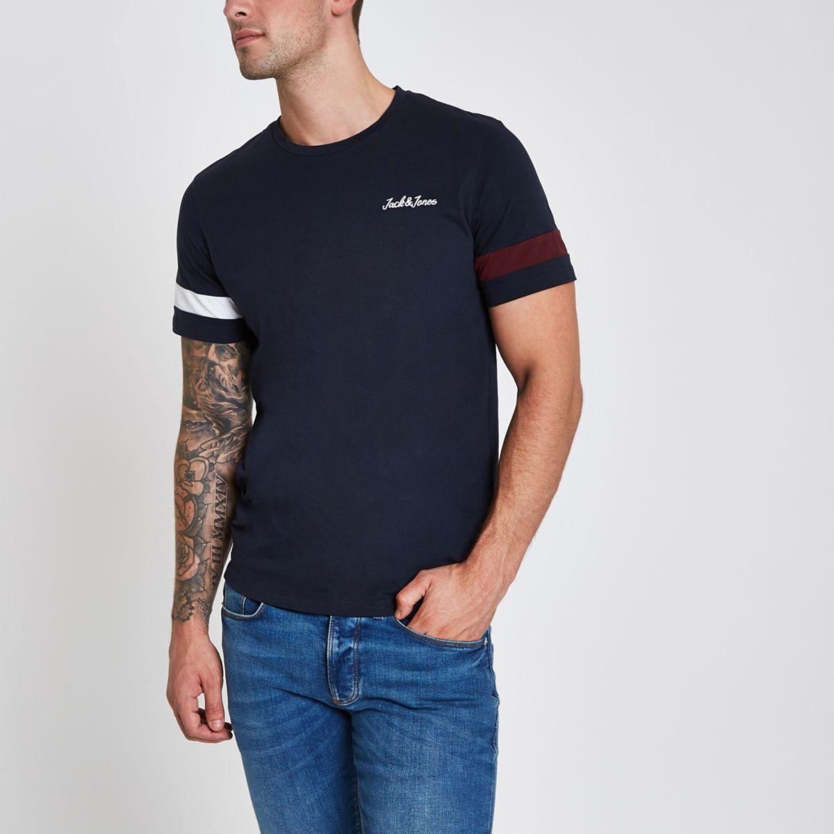 Jack & Jones navy stripe sleeve T-shirt