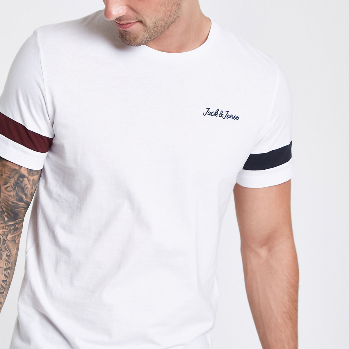 Jack & Jones Originals white stripe T-shirt