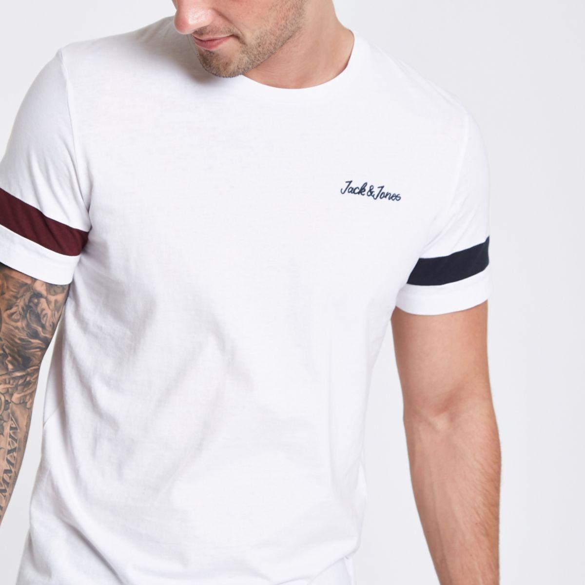 Jack & Jones Originals white stripe T-shirt