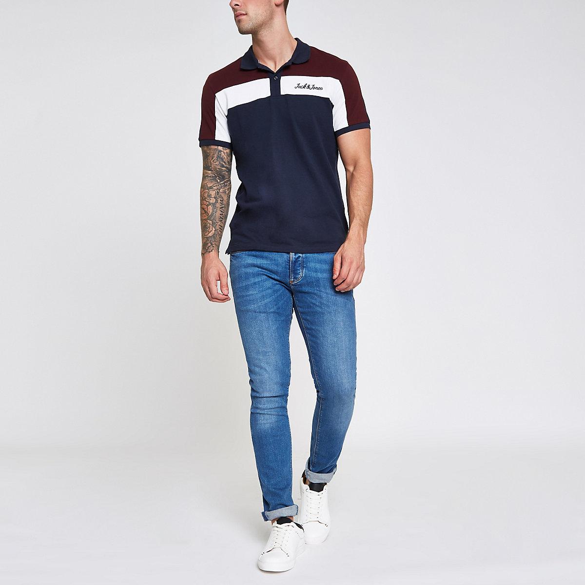 Jack & Jones navy color block polo shirt