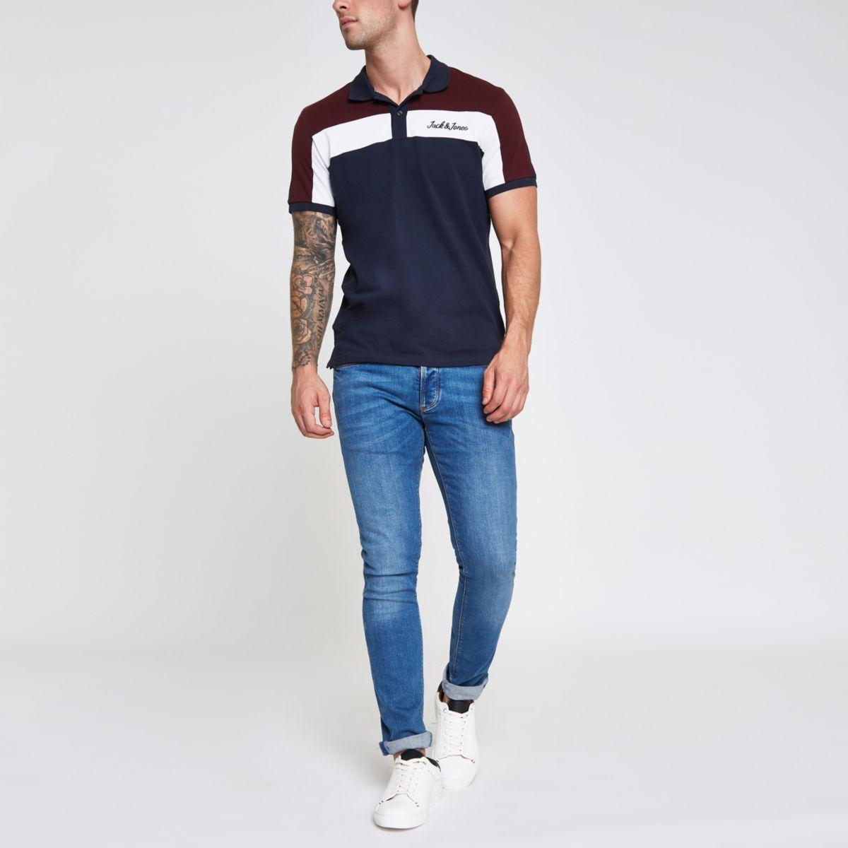 Jack & Jones navy colour block polo shirt