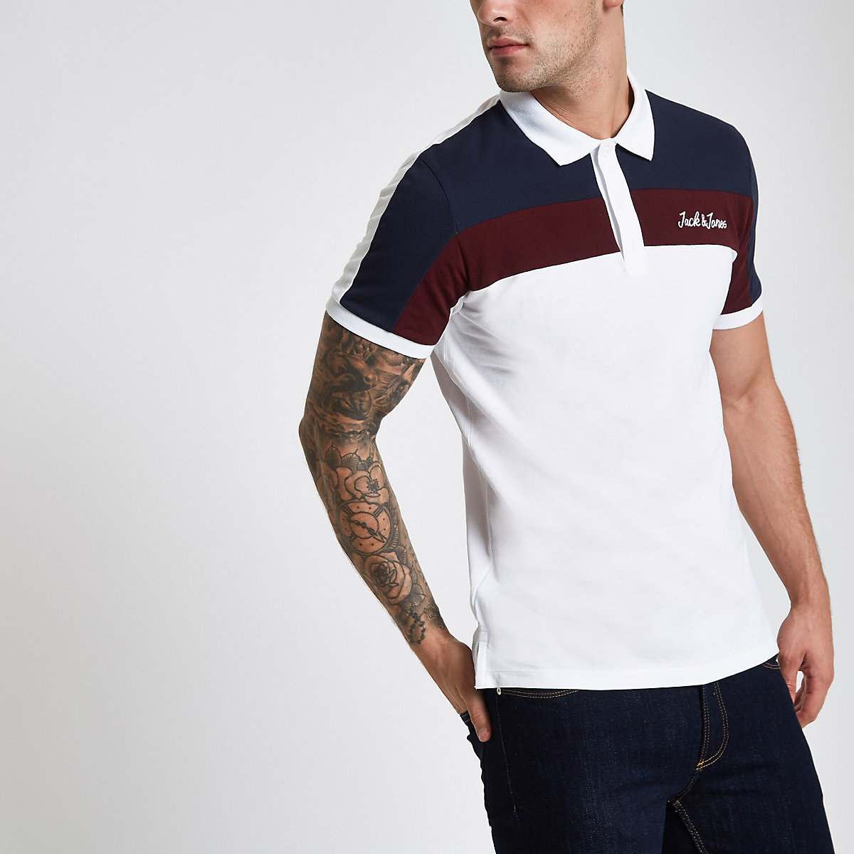 Jack & Jones white colour block polo shirt