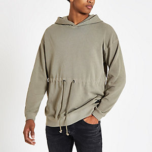 Only & Sons – Sweat à capuche marron avec taille à cordon