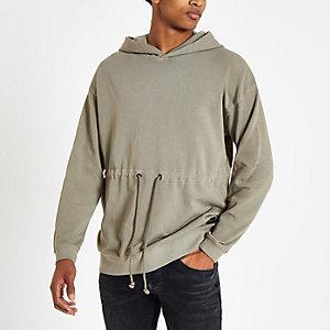 Only & Sons - Bruine hoodie met trekkoord in de taille