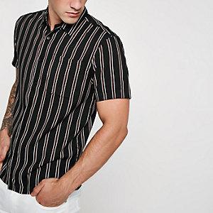 Bellfield - Zwart gestreept overhemd met korte mouwen