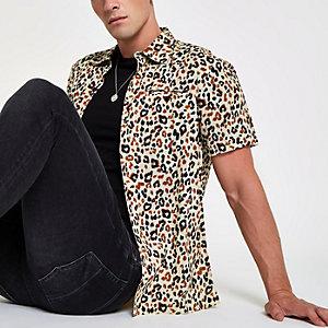 Bellfield - Grijs overhemd met luidpaardprint