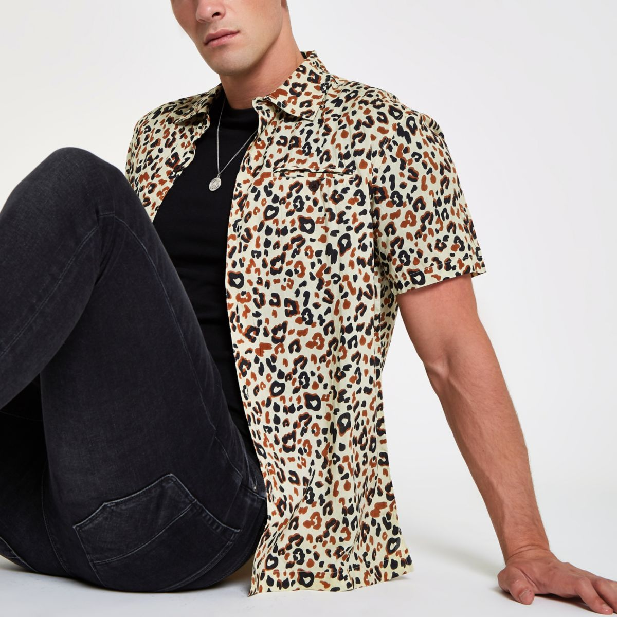 Bellfield – Graues Hemd mit Leopardenprint