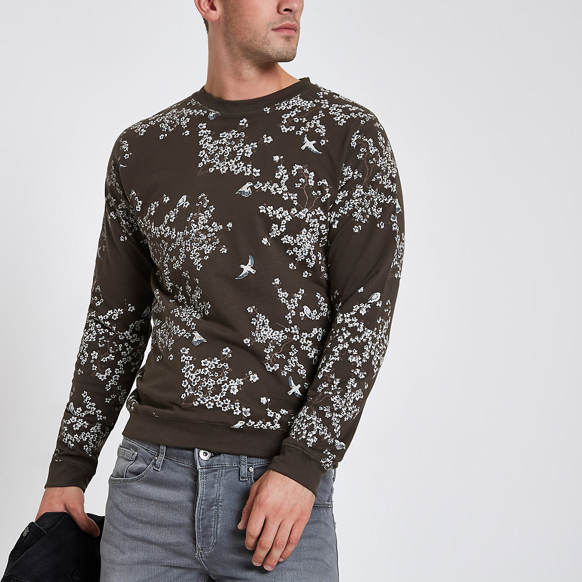 Bellfield brown floral print crew neck sweater
