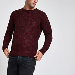 Bellfield burgundy textured crew neck jumper