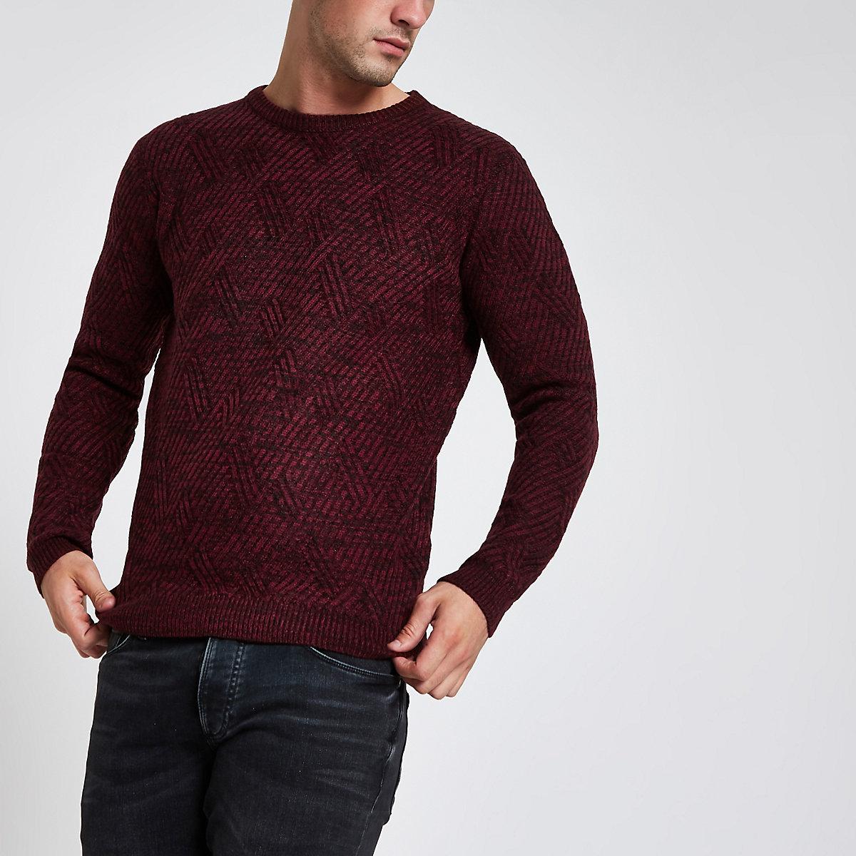Bellfield – Strukturierter Pullover mit Rundhalsausschnitt in Bordeaux