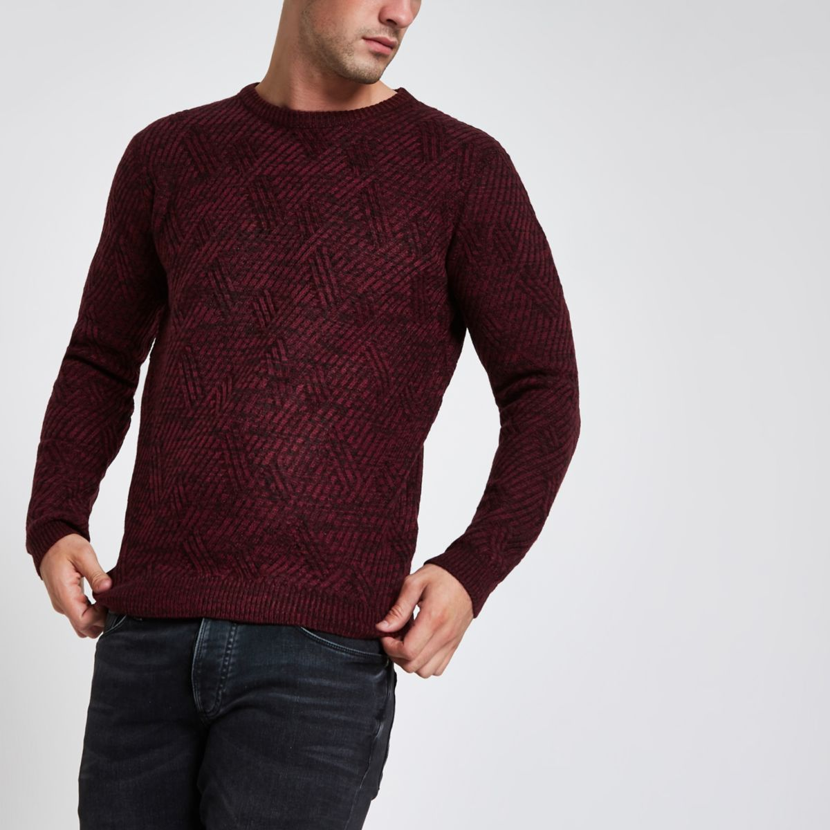 Bellfield burgundy textured crew neck sweater