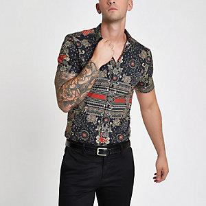 Schwarzes, bedrucktes Muscle Fit Hemd